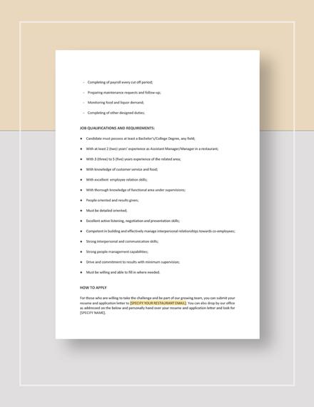 Restaurant Assistant Manager Job description Download