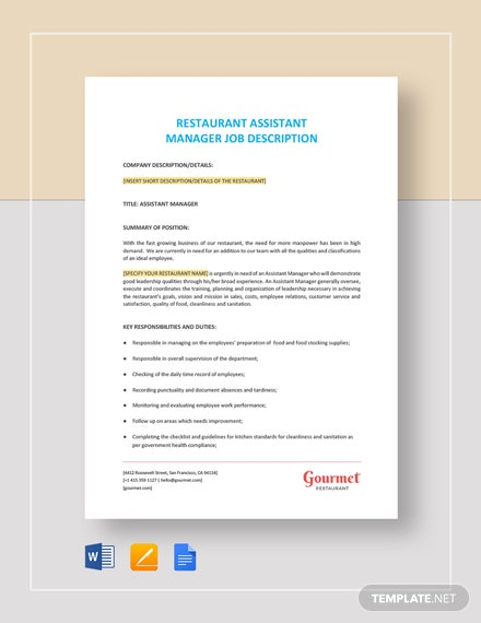 Restaurant Assistant Manager Job Description Template
