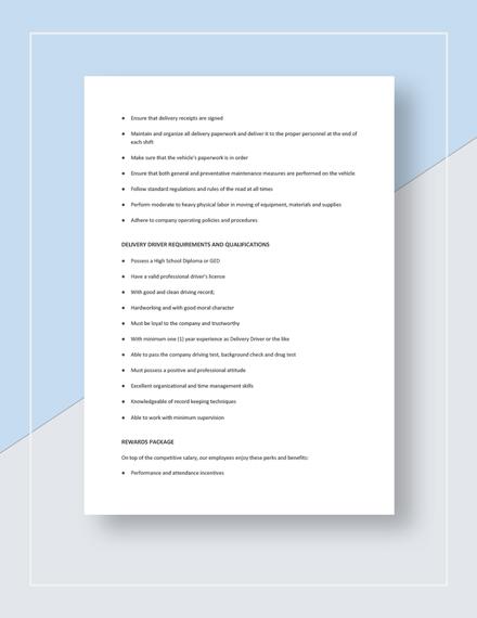 Delivery Driver Job Description Template