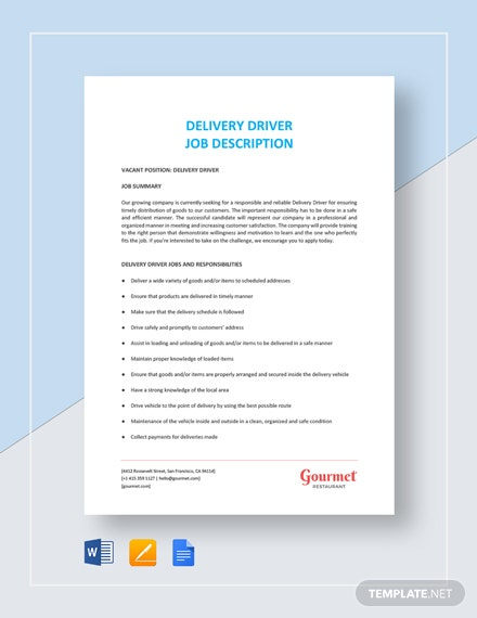Delivery Driver Job Description Template