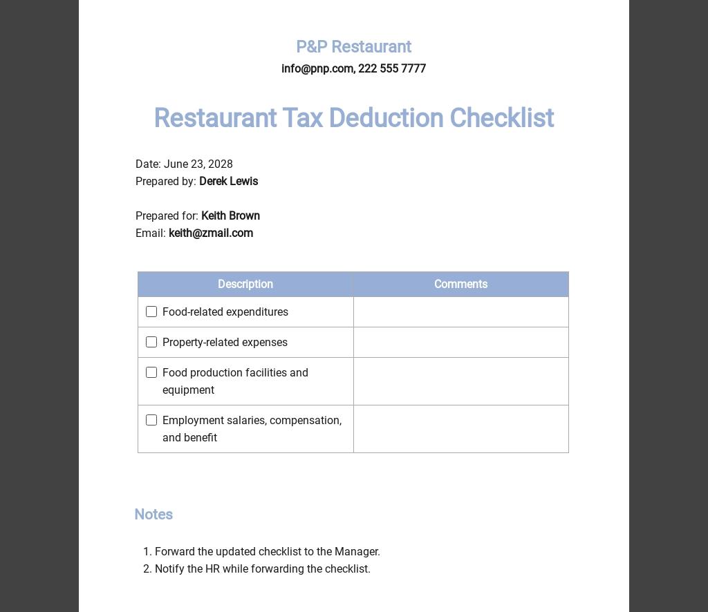 Restaurant Tax Deduction Checklist Template