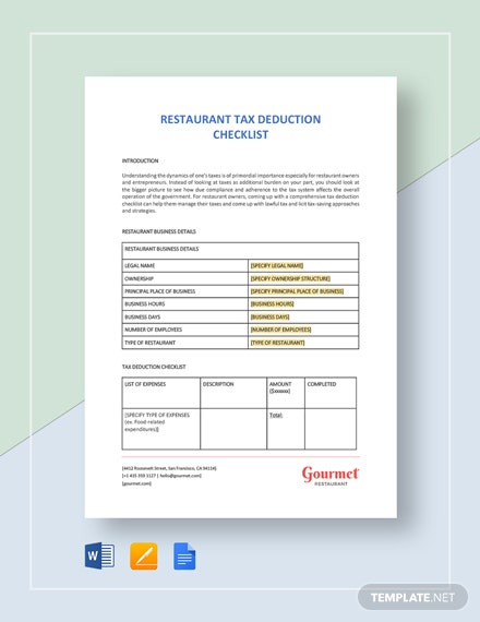 Restaurant Tax Deduction Checklist Template