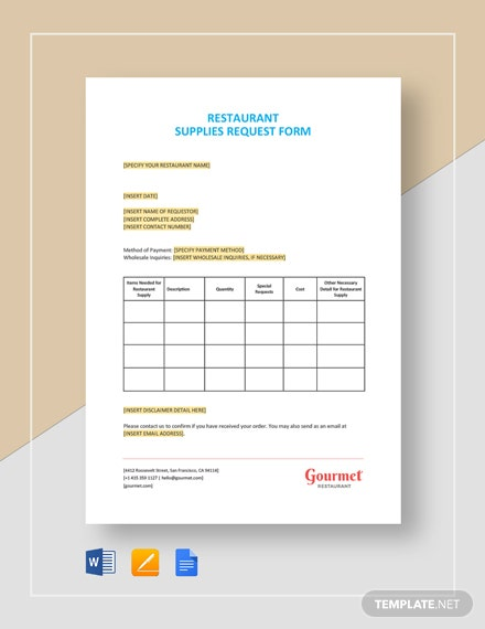 Restaurant Supplies Request Form Template