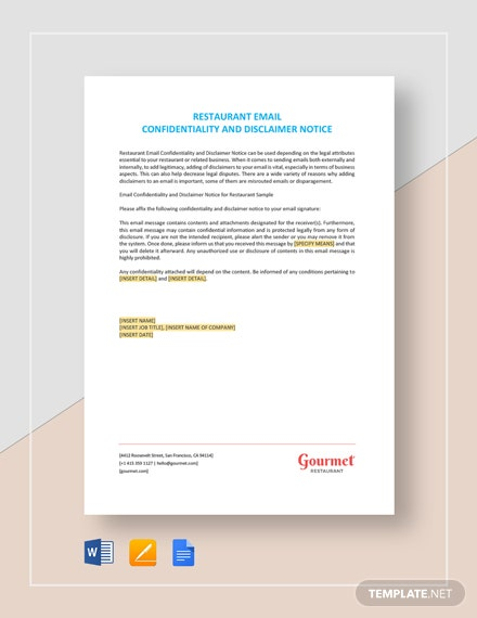 Restaurant Email Confidentiality and Disclaimer Notice Template