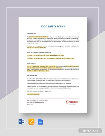 Food Safety Policy Template