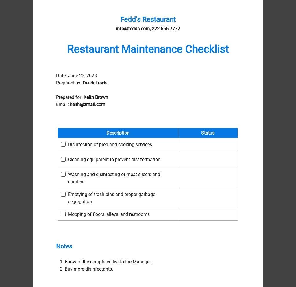 Restaurant Maintenance Checklist Template