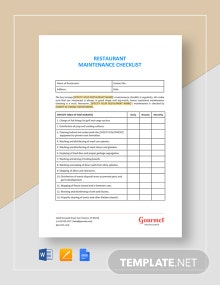 Restaurant Maintenance Checklist Template