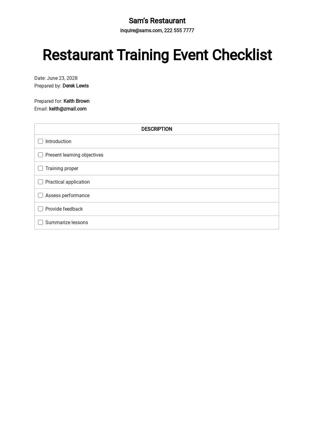 Restaurant Training Event Checklist Template