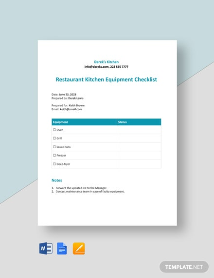 Restaurant Kitchen Equipment Checklist
