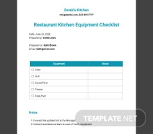 Restaurant Kitchen Equipment Checklist Template