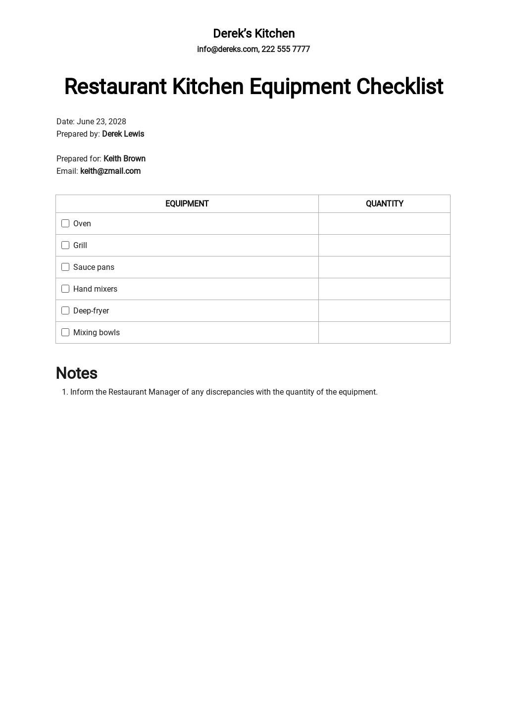 Restaurant Kitchen Equipment Checklist Template