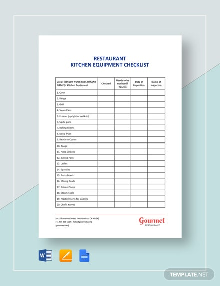 Restaurant Kitchen Equipment Checklist Template 101 Checklists In Microsoft Word Le Pages Google Docs