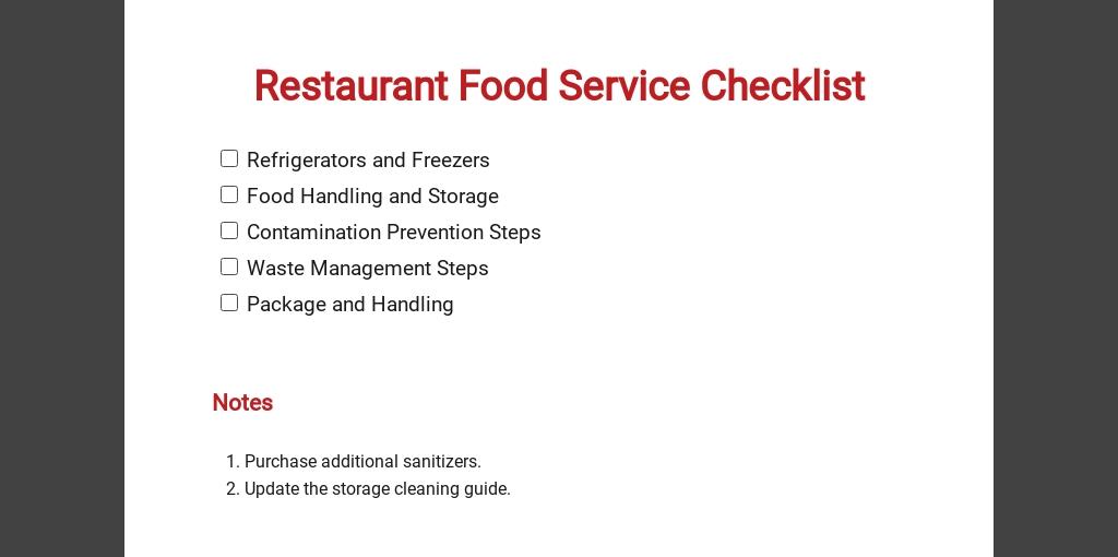 Restaurant Food Service Checklist Template