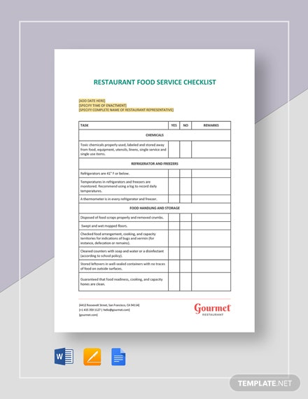 Restaurant Food Service Checklist Template