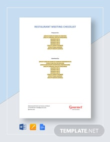 Restaurant Meeting Checklist Template