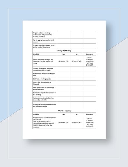 Restaurant Meeting Checklist Download
