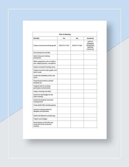 Restaurant Meeting Checklist Template