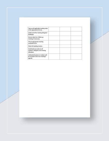 Restaurant Meeting Checklist Sample