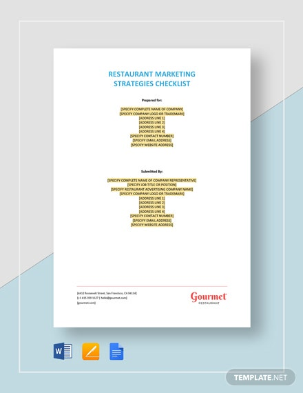 Restaurant Marketing Strategies Checklist Template