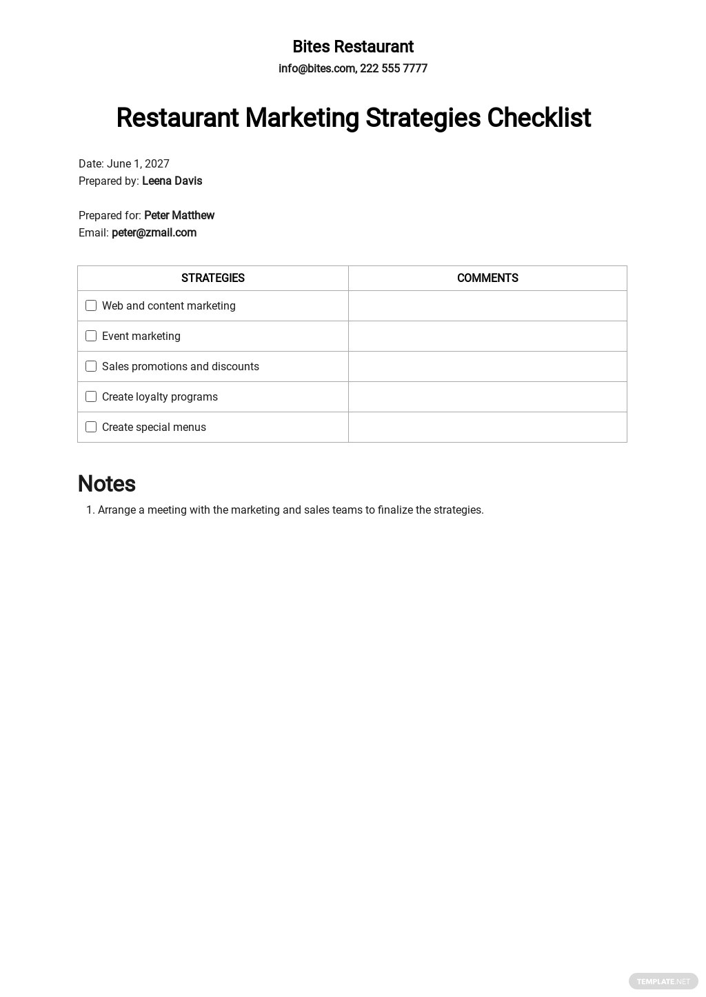 Restaurant Marketing Strategies Checklist Template.jpe