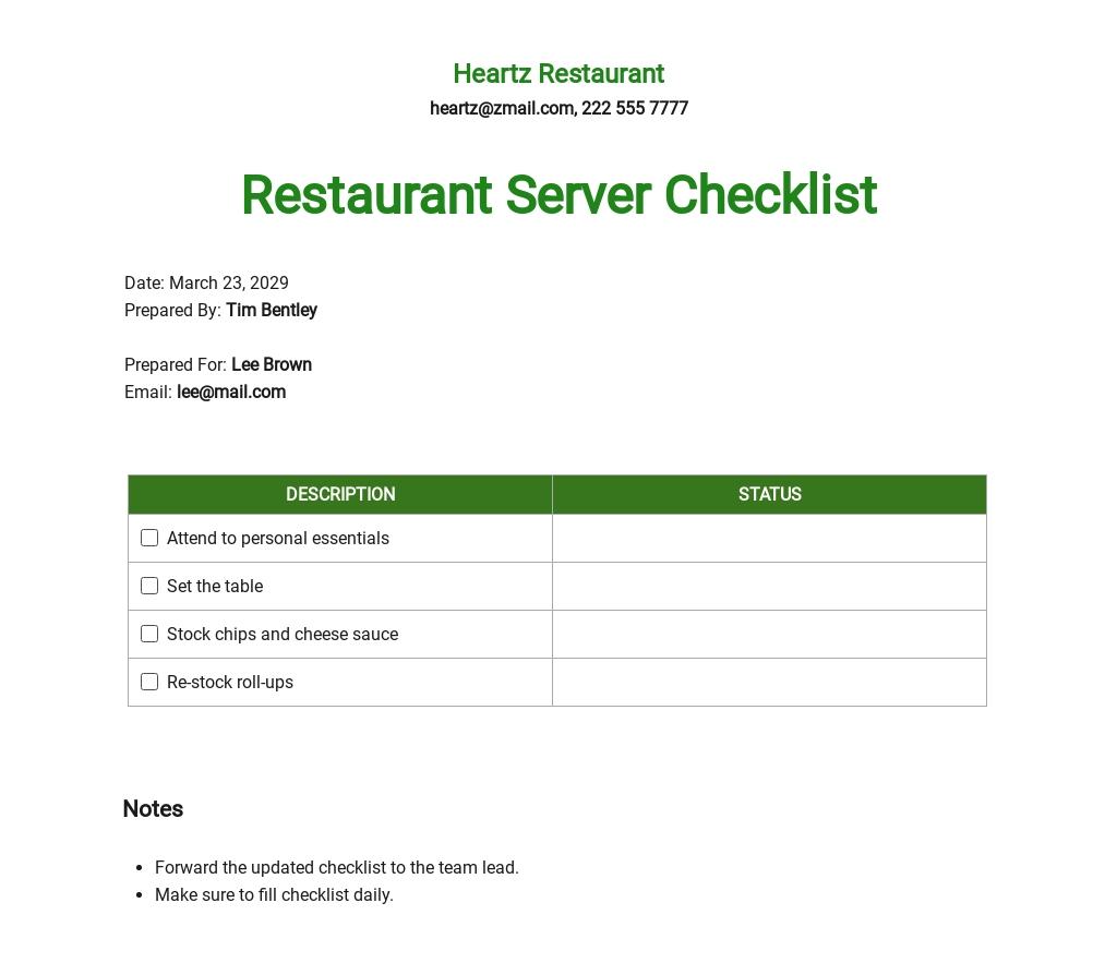 Restaurant Server Sidework Checklist Template