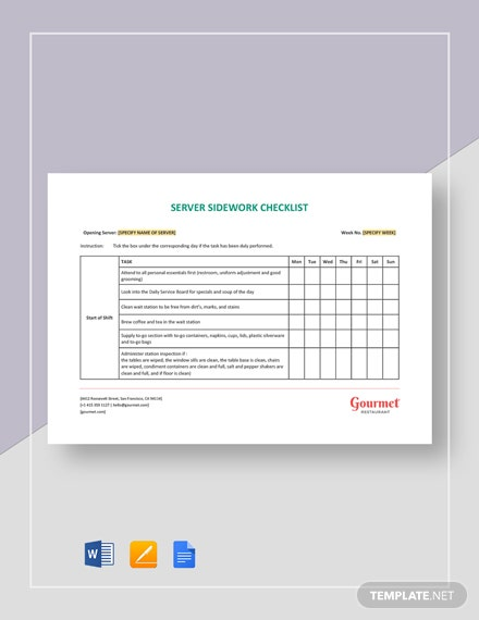 Restaurant Server Sidework Checklist Template Word