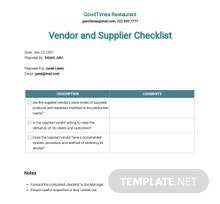 Restaurant Vendor and Supplier Checklist Template