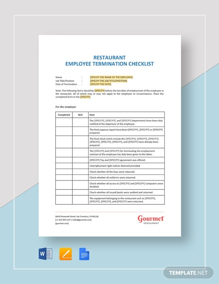 Restaurant Employee Termination Checklist Template