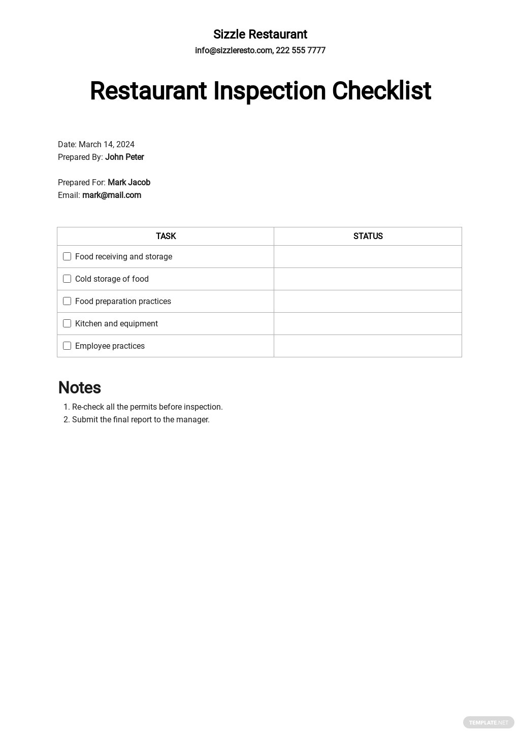 Restaurant Inspection Checklist Template