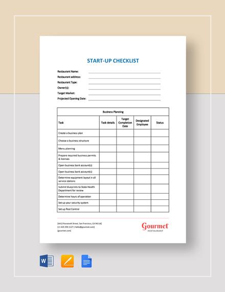 Restaurant Startup Checklist Template