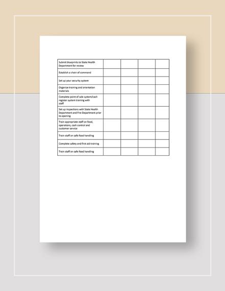 Restaurant Startup Checklist Sample