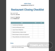 Closing Your Restaurant Checklist Template