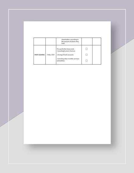 Sample Closing Your Restaurant Checklist