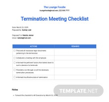 Restaurant Employee Termination Meeting Checklist Template