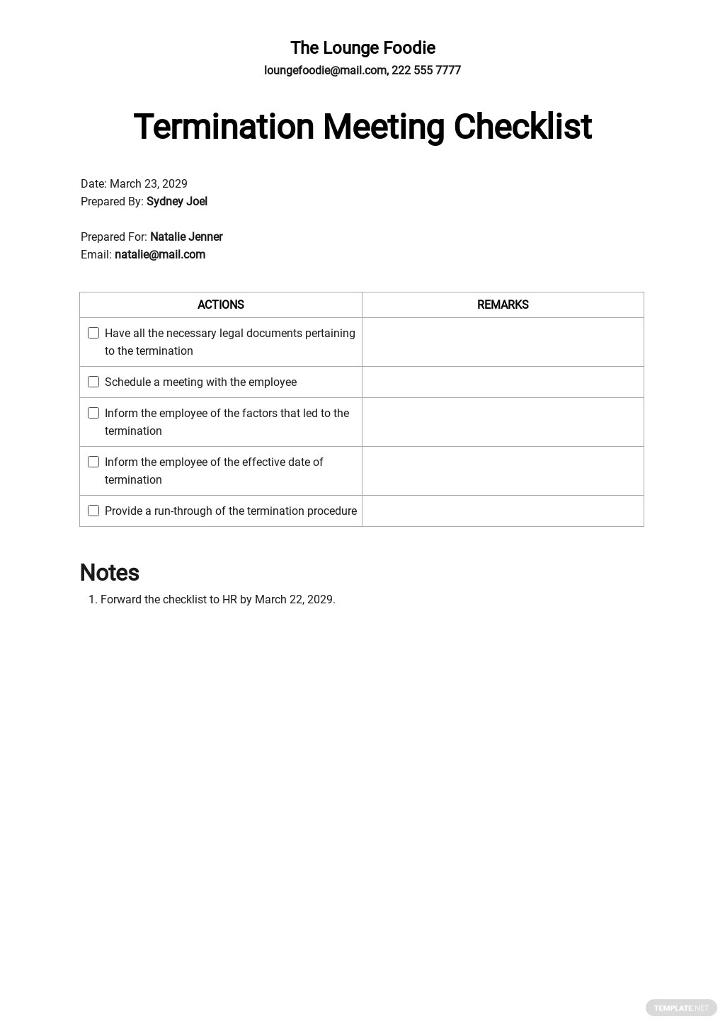 Restaurant Employee Termination Meeting Checklist Template.jpe
