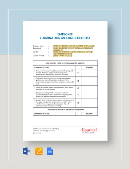 Restaurant Employee Termination Meeting Checklist Template