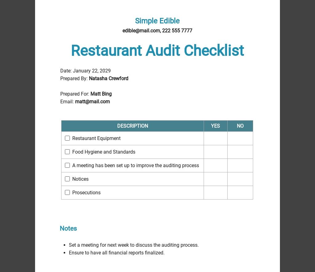 Restaurant Audit Checklist Template