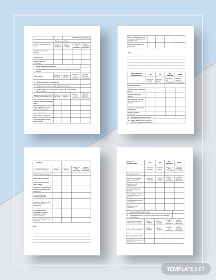Simple Restaurant Audit Checklist