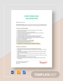 Short Order Cook Job Description Template