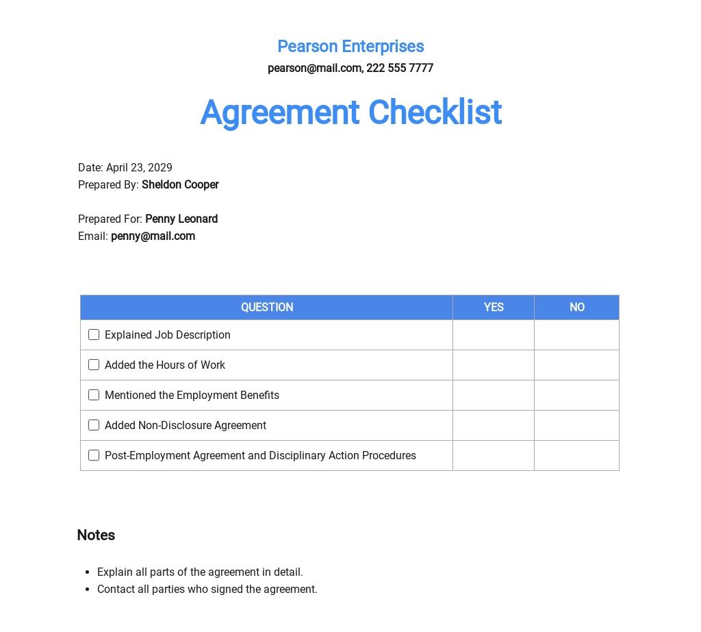 Checklist Employment Agreement Template