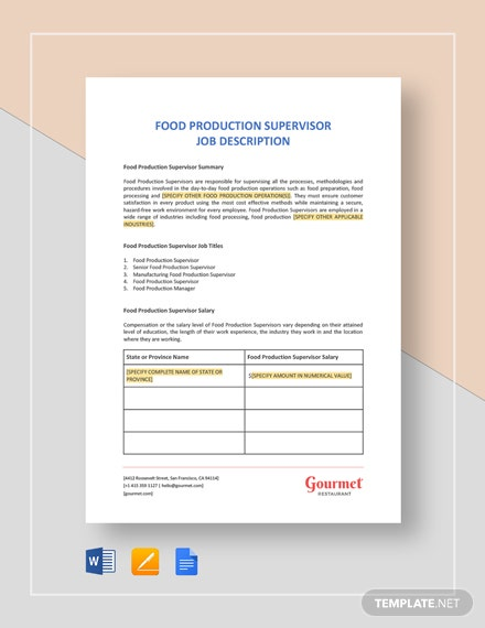 food production supervisor job description