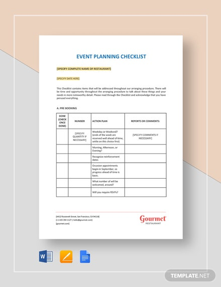 Restaurant Event Planning Checklist Template