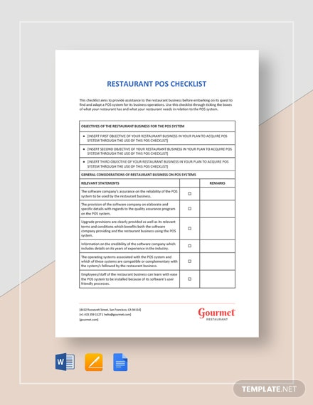 Restaurant POS Checklist Template