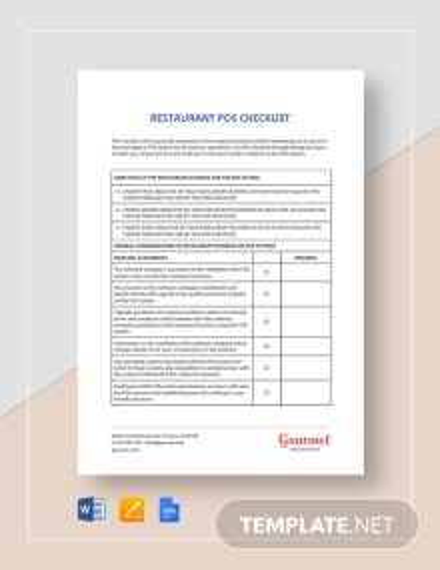 Restaurant POS Checklist Template