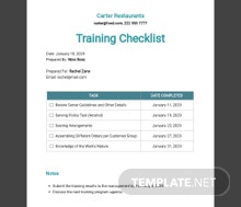 Server Training Checklist Template