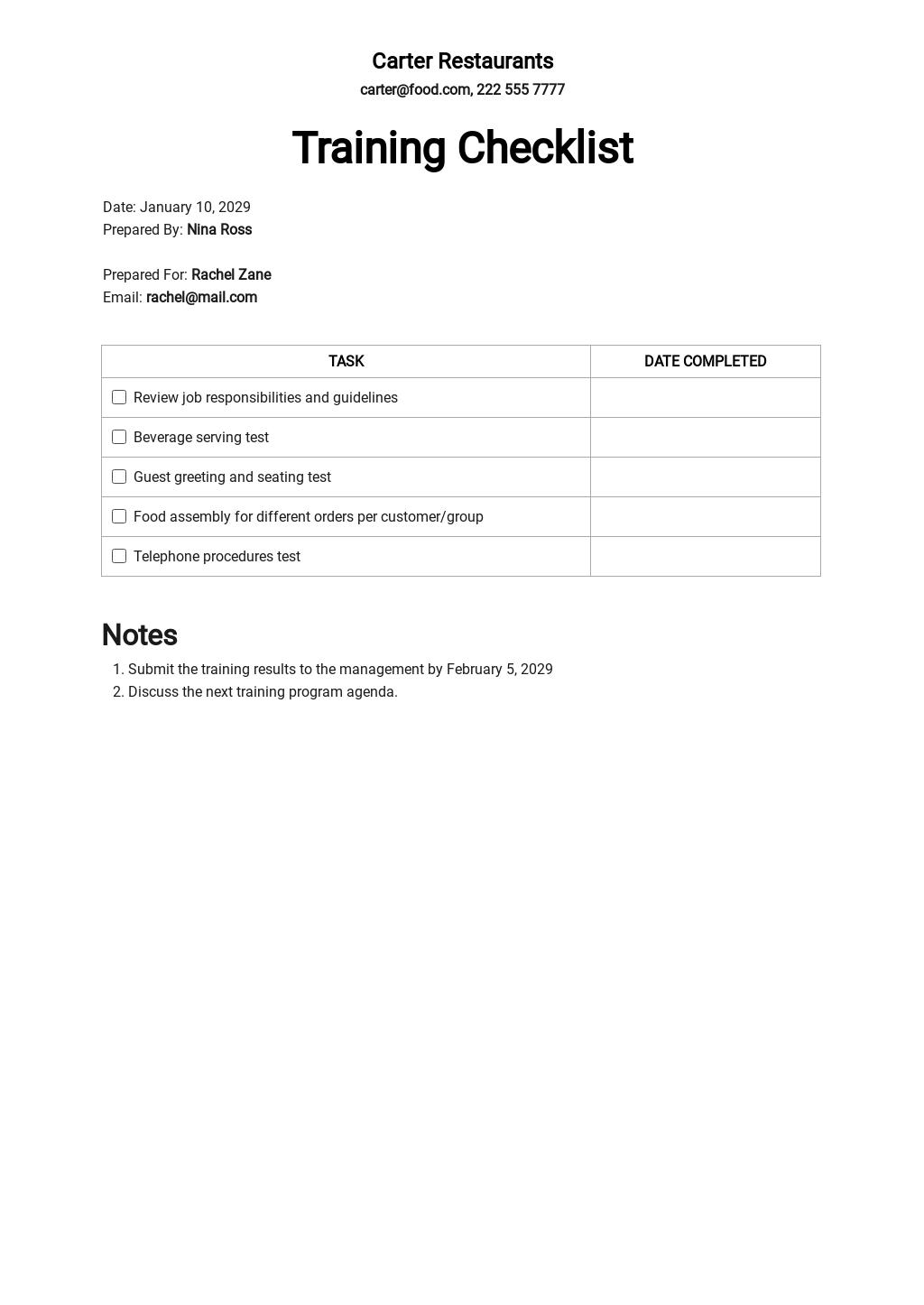 Server Training Checklist Template.jpe