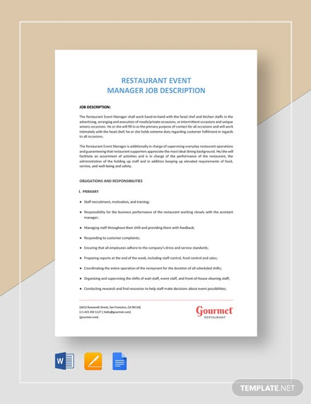 Restaurant Event Manager Job Description Template