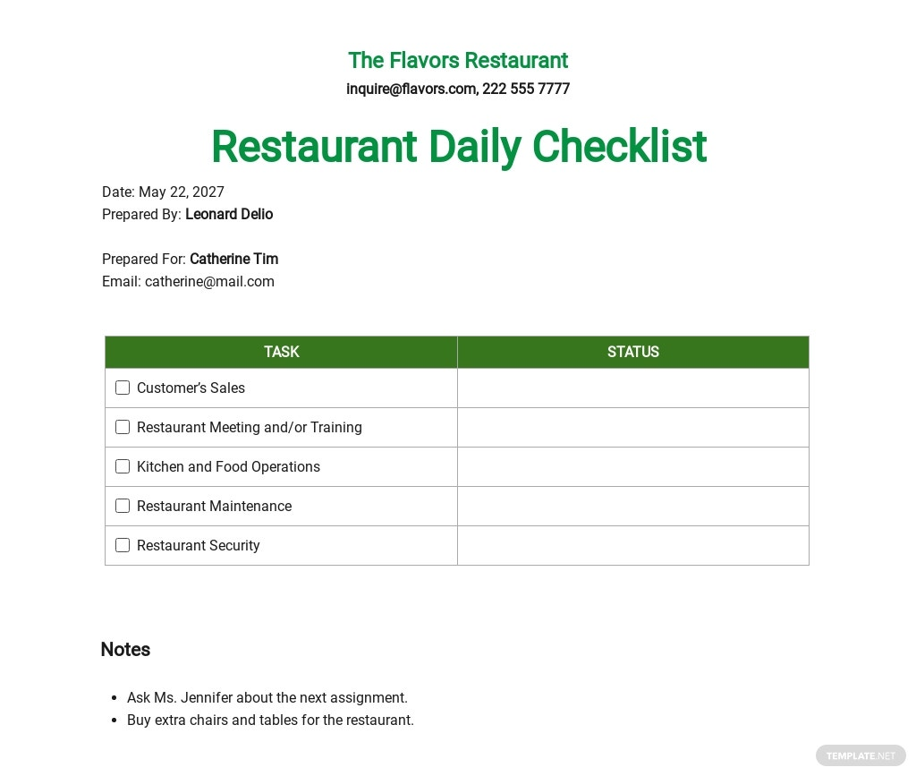 Restaurant Daily Checklist Template