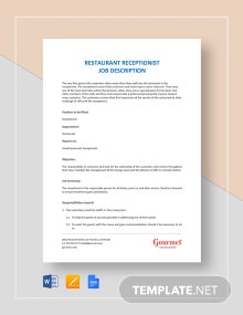 Restaurant Receptionist Job Description Template
