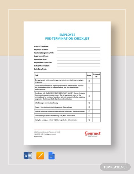 Employee Pre-Termination Checklist Template